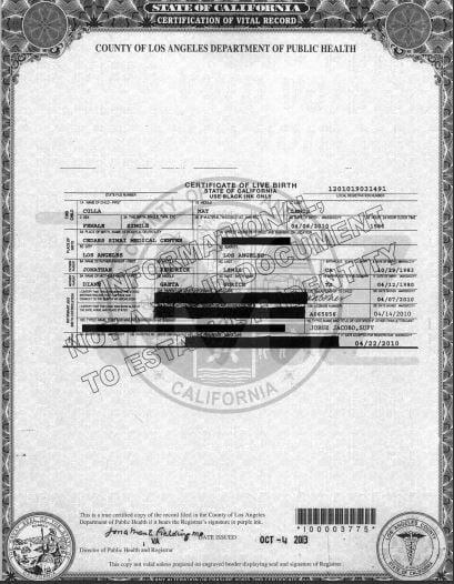 Diane gaeta Johnny Lewis daughter birth certificate